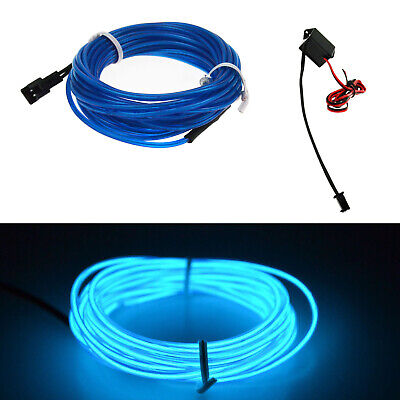 Neon EL Wire Blue LED Light Glow Strip Rope Tube + 12V Controller 2M 6.56FT RD17