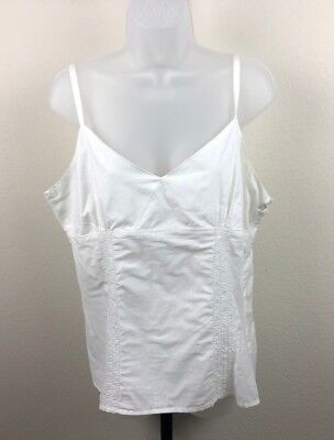 1b9724fbed867 Womens White Route 66 Low-Cut Tank-Top Loose Blouse Sequined Shirt Large