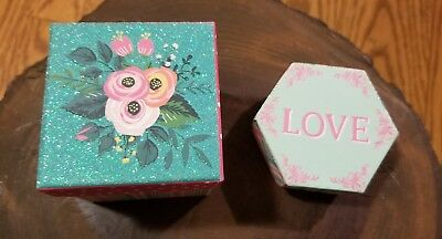 2 Piece Decorative Trinket Gift Storage Jewelry Boxes