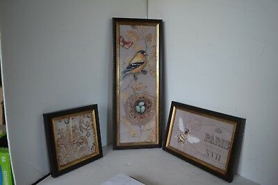 Vintage Cloth Bird Eggs Bee Paris Lot of 3 Framed Wall Picture