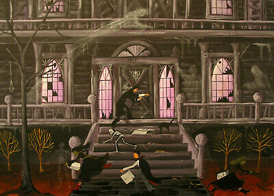 Halloween witch haunted house ghost spirit prop ACEO Giclee art print Criswell