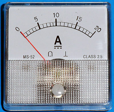 DC Analog Ammeter 0-20 Amps DC MS52 type