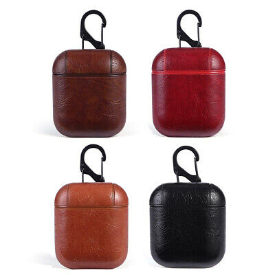 PU Leather Protective Case Cover Key Chain Pouch Skin for Apple Airpods Earphone