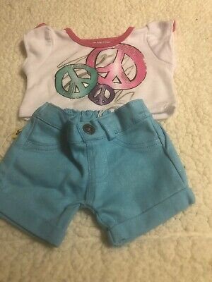 Build A Bear Love Hugs Peace Tank Top White Denim Skirt 2 Pc Outfit Girl Clothes