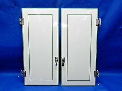 Vintage Early 1900's Heavy Porcelain Enamel Cabinet Door Pair w/Hardware V.NICE