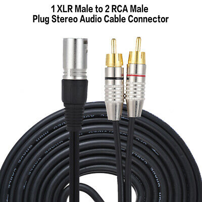 1 XLR to 2 RCA Male Plug Stereo Audio Cable Connector Y Splitter Wire Cord