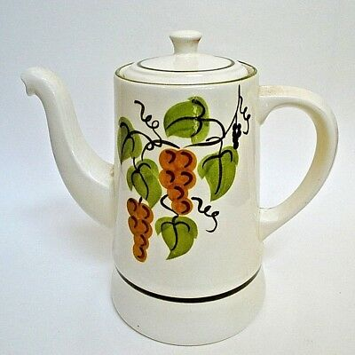 """Stangl Pottery Golden Grapes 8.5"""" Coffee Pot Hand Painted"""