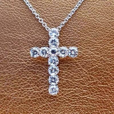 2Ct Diamond Engagement Cross Pendant with 14K White Gold Women's Men's
