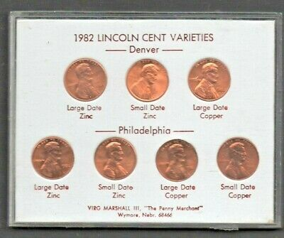 1982 P&D Lincoln Cent BU Compl 7 Coin set Small & Large, Zinc & Copper in case