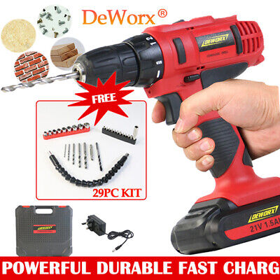 Heavy Duty Industrial Cordless Drill Wrench Driver Fast Charge 21V DIY Tool Set