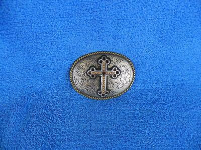 Nocona Western 3-D Cross Embellished Silver Metal Oval Belt Buckle - Nice !