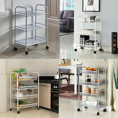 3 4 Shelves Kitchen Trolley Stainless Steel with wheel Beauty Salon Cart Storage