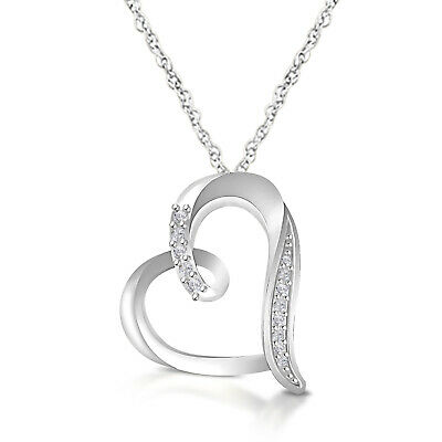 """Heart Shape Diamond Pendant Necklace With Silver Chain 18"""" In 14k White Gold FN"""