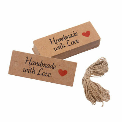 100 Pcs Handmade With Love Labels Hang Tags Blank Kraft Paper With String Craft