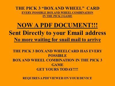 Lottery System Pick 3 Box and Wheel Card EMAIL!! PDF Every Possible Combination