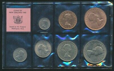 New Zealand 1965 7 Coin Uncirculated Set Pink Label no outer envelope