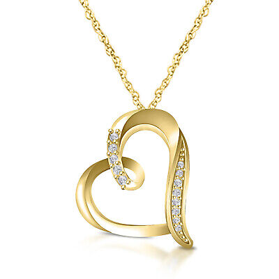 """Heart Shape Diamond Pendant Necklace With Silver Chain 18"""" In 14k Yellow Gold FN"""