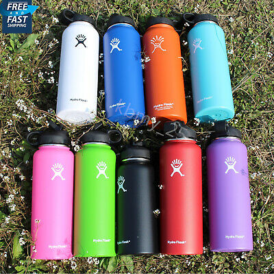 Hydro Flask Insulated Stainless Steel Water Bottle Wide Mouth Cap Straw Lid 40oz