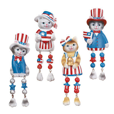 Stars & Stripes Patriotic Cat Shelf Sitters 4th of July Indoor Decoration