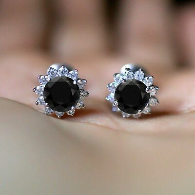 2Ct Round Brilliant Cut Black Diamond Halo Stud Earrings 14k White Gold Over