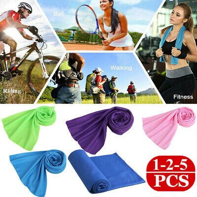 2 Tier 2&5PCS Sweat Absorb Chily Cooling Ice Towel Cold Sports Gym Towel Run Pad