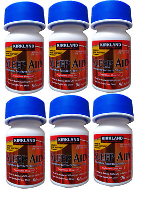 Kirkland Sleep Aid Doxylamine Succinate 25 mg,96 Tablets x 6+Free Worldwide Ship