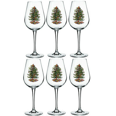 Set Of 6 Drinking Glass Wine Christmas Tree Gift Whiskey Champagne Xmas 22Cm New