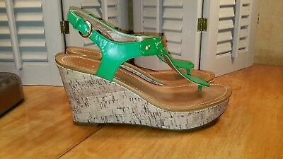 130abb31b Tommy Hilfiger womens T strap Marlie lime green cork wedge sandals size 9