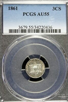 1861 - PCGS AU55 Three Cent Silver!!  #B12700