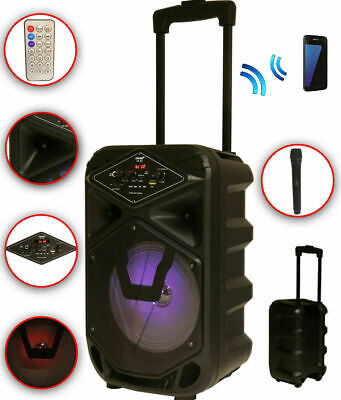 Karaoke Anlage mobile PA Lautsprecherbox Trolley USB MP3 Wireless LED K8-8 DMS®