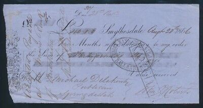 """Australia: 1866 Smythesdale """"RARE Early Gold Rush £40 Bank Time Note"""""""