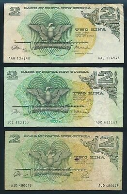 """Papua New Guinea: 1975-2002 2 & 5 Kina """"COLLN OF 7 DIFFERENT NOTES"""". Pick 1a-15"""
