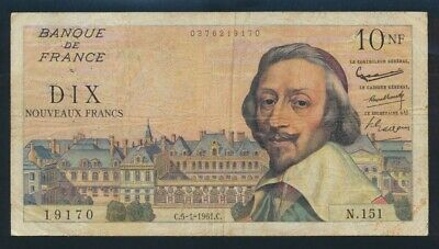 "France: 5-1-1961 10 New Francs ""SCARCE INTERIM ISSUE"". Pick 142a Fine"