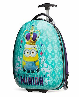 """New Despicable Me Minions King Bob Kids 17"""" Hard Side Rolling Luggage FREE SHIP"""