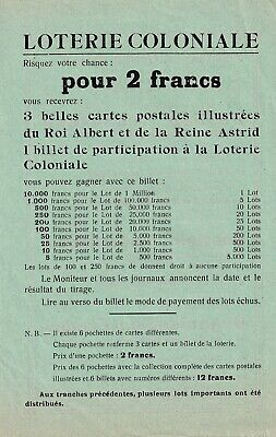ancienne document LOTERIE COLONIALE; institut Reine Astrid MONS