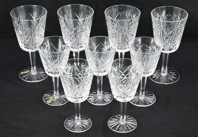 Set of 9 Waterford Crystal Wine Goblets, Vtg Lismore Irish Cut Crystal Glasses