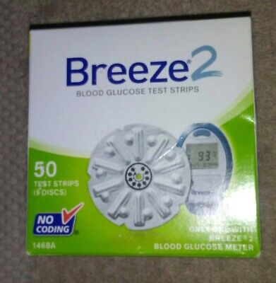 New Bayer Breeze2 Blood Glucose 50 Test Strips Exp 11/2018