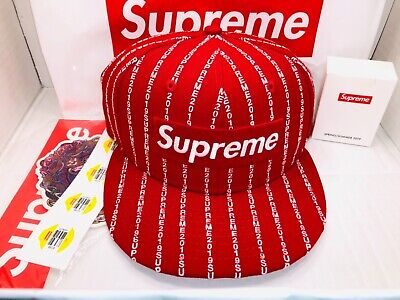 0a0e3b2ef19 SUPREME NEW ERA 59 Fifty Fitted 7 1 8 Red Text Stripe Box Logo Hat ...