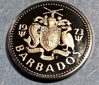 Central America 1973 Barbados $1 Dollar Proof Gem Fdc Coin Km# 14.1 North & Central America