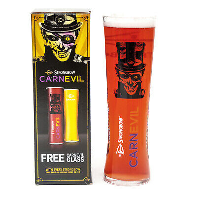 Strongbow Embossed Carnevil Pint Glass Limited Halloween Edition Home Bar Pub