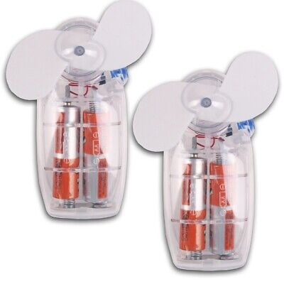 2 Handheld MINI FANS Travel Holiday Summer Portable BATTERY Operated Home/Office