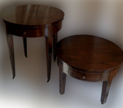 BAKER FURNITURE COMPANY Vintage Pair of Wooden Round Accent Side End (2) Tables
