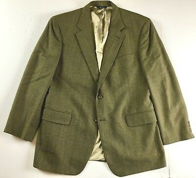 Brooks Brothers Made in USA Glen Plaid Textured Wool Sport Coat sz 42R Brown