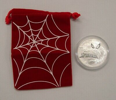 Tuvalu 2017 1 oz. Silver Spiderman $1 Coin - Marvel Comics - w/ Cloth Bag
