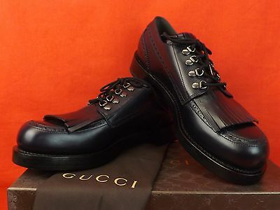 131e776bc99 Nib Gucci Navy Goodyear Leather Fringe Brogue Lace Up Oxfords 10 11  358271