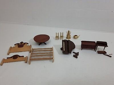 Vintage Antique ? Doll Hose Furniture Lot Metal Wood Piano Bed Chair Dollhouse