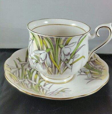 Royal Albert English Bone China Flower of the Month  Teacup & Saucer Snowdrop #1