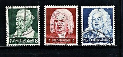 Hick Girl Stamp-Old Used German  Stamps  Sc#456-58  1935  Classic Music     M959