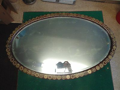 Antique Large Heavy Steampunk Ed Industrial  Oval Bevelled Wall Mirror Gears