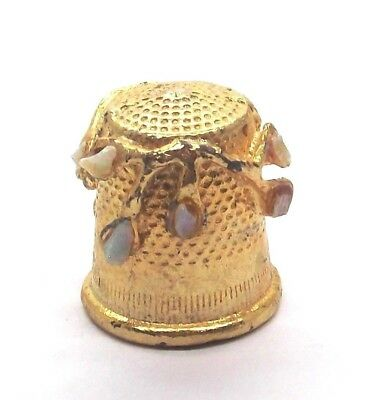 Golden Pewter Thimble With Stone Flowers